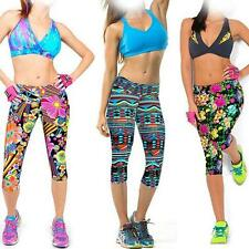 Women's Capris Leggings Floral Printed Yoga Pants High Waisted Fitness Workout