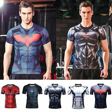 Superhero Compression Tee T-shirts Short Sleeve Sport Bicycle Jersey Men T Shirt