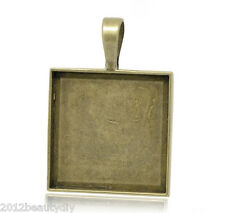 Wholesale Bronze Tone Square Cameo Frame Settings 38x27mm
