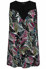 Yoursclothing Plus Size Womens Black, Pink & Green Tropical Leaf Print Longline