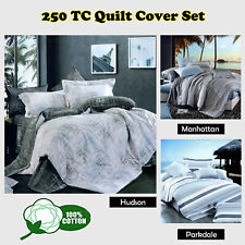 250TC & 100% Cotton Quilt Doona Duver Cover Set - SINGLE DOUBLE QUEEN KING