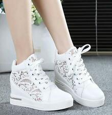 Womens Lace Round Toe Hollow Platform Wedge Shoes Lace Up High Top Sneakers A258