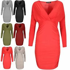 Womens Long Sleeve Side Ruched Cross Over V Neck Ladies Party Bodycon Mini Dress