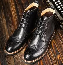 Popular Mens Ankle Boots Wing Tip Carved Shoes British Lace Up PU Leather Brogue