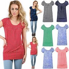 Womens Ladies Ruched Front Gather Polka Dots Flower Print Vest Tee Top Plus Size