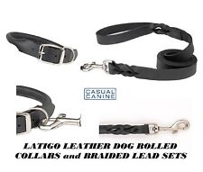 BLACK PREMIUM LATIGO ROLLED Round LEATHER DOG COLLAR&BRAIDED LEASH SET Lead