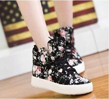 New Canvas Floral Flowers Women's Flat Platform Shoes High Top Sneakers Shoes
