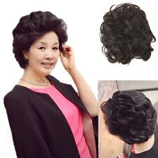 100% Real Human Hair Young Mom Black/Brown Wavy Top Piece Toupee Hair Extensions