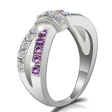 Purple Amethyst & CZ Criss Cross Band Ring White Gold PLATED Jewelry Size 6-10