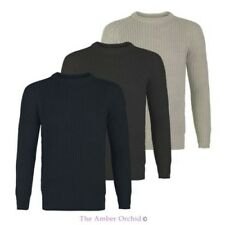 NEW MENS KNITTED JUMPER CASUAL CREW NECK BIG KNIT STRETCH SWEATER PULLOVER S-XL