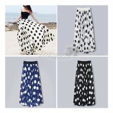 Womens Chiffon Polka Dot Print Casual Long Maxi Skirt Vintage Beach Dress Summer