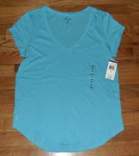 NEW NWT Polo Ralph Lauren Womens PONY LOGO V-Neck T-Shirt Curved Hem Blue *1C
