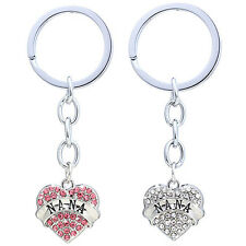 Sweet Alloy Heart Crystal Inlaid Chain Letter Printed Pendant Couple Key Ring
