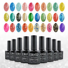 New Elite99 Glitter Color Gel Nail Polish Soak Off UV LED Manicure Top Base Coat