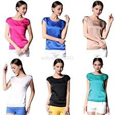 Women's Summer Sleeveless Tops Shirt Party Blouse Solid Color Crew Neck T-Shirt