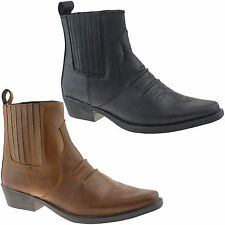 MENS GRINGOS COWBOY LEATHER ANKLE BOOTS SIZE 6 - 12 BLACK OR BROWN M841 KD