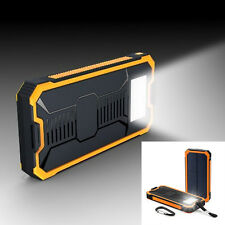 Waterproof Solar Power Bank External Battery Backup 2-USB Charger Camp LED Lamps