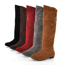 Women Knee High Boots Buckle Pull On Winter Warm Round Toe Suede Shoes All US Sz