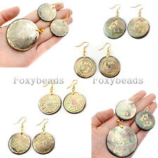Natural Black Shell Copper Pendant Earring Butterfly Tribal Totem Jewelry Set FB