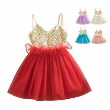 0-3Y Girl Kids Baby Bling Sequins Wedding Party Tulle Tutu Skirt Dress One-Piece