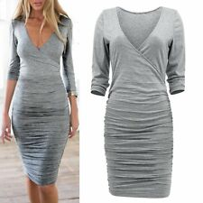 Sexy Women V-neck Long Sleeve Bodycon Dress Party Cocktail Mini Dress Clubwear