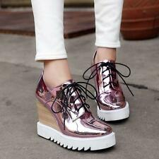 Hot Woman's Girl Patent Wedge Heel Lace Up Casual Bling Shoes Sneakers Size34-42