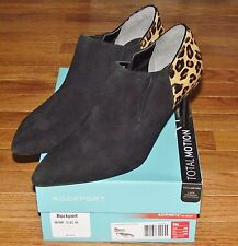 NEW NIB Rockport Womens Total Motion Pointed Toe Shootie Suede Leopard Bootie
