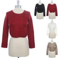 Cropped Knit Long Sleeve Crew Neck Solid Sweater Top Cute Casual Stylish S M L
