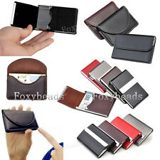 Mens Womens PU Leather Business Credit Card Name ID Card Holder Pocket Box Case