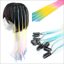 Lot Colorful Cosplay Party Rainbow Synthetic Clip In/on Feather Hair Extensions