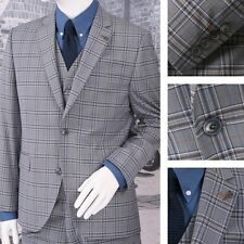 Gibson London Slim Fit Two Button 3 Piece Mod Suit Grey Check