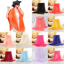 New Classical Women's Fashion Georgette Long Wrap Shawl Beach Silk Scarf Shawl