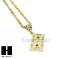 "MEN HIP HOP ICED OUT CASSETTE TAPE PENDANT w/ 4mm 24"" ROPE NECKLACE CHAIN SN228"