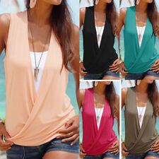 Women's Clothing Summer Sleeveless Comfy Loose Solid Top Shirt Blouse T-Shirt