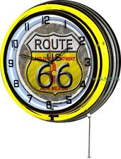 """Route 66 New Mexico Flag 18"""" Yellow Double Neon Wall Clock Vintage Retro ManCave"""