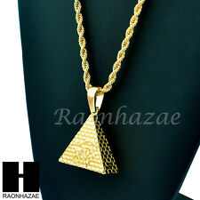 """MEN EGYPTIAN PYRAMID EYE OF HORUS PENDANT w/ 4mm 24"""" ROPE NECKLACE CHAIN S237"""