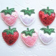 "US SELLER 45 x 1"" Padded Shiny Sequined Felt Strawberry Appliques for Bows ST64B"