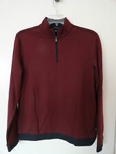 "NWT HUGO BOSS ""PICENO 39"" MENS HALF ZIP PULLOVER SWEATER COTTON BLEND RED $145+"