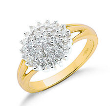9ct Yellow Gold Real Diamond Rounds Cluster Ring 0.50ctw