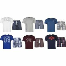 Lee Cooper Mens T Shirt Shorts Pyjama Set Tee And Short Pants Bottoms