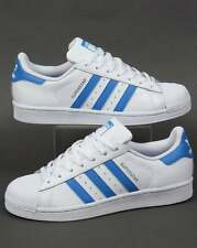 Adidas Originals - Adidas Superstar Trainers in White & Ray Blue - shell toe