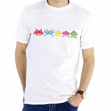 NEW - SPACE INVADERS - Mens White Cotton T-Shirt - Gift Present Xmas Birthday