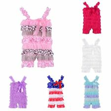 Hot Infant Baby Newborn Girls Short Lace Ruffle Jumpsuit Romper Clothing Outfit
