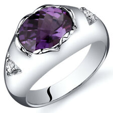 Oval Checkerboard Cut 2.50 cts Alexandrite Ring Sterling Silver Sizes 5 to 9