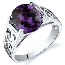 Checkerboard 3.50 cts Alexandrite Solitiare Ring Sterling Silver Sizes 5 to 9