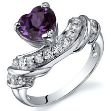 Heart Shape 1.75 cts Alexandrite CZ Ring Sterling Silver Sizes 5 to 9