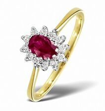 Yellow Gold 0.18ctw Diamond & Ruby Cluster Ring  Sizes F - Z Made in London