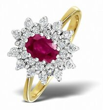 9k Gold 0.36ctw Diamond & Ruby Cluster Ring Sizes F-Z Made in London