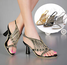 Women Rhinestone High Thick Heel Wedding Bride Party Evening Dress Sandal Shoes