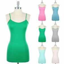 Seamless Basic Spaghetti Strap CAMI LONG Camisole TUNIC Tank Top Nylon